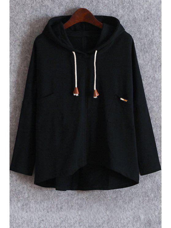 unique Pockets Slouchy Pullover Hoodie - BLACK ONE SIZE(FIT SIZE XS TO M)