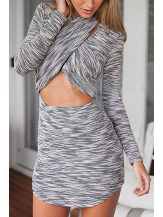 sale Cross Collar Color Block Stripe Long Sleeve Dress - GRAY S