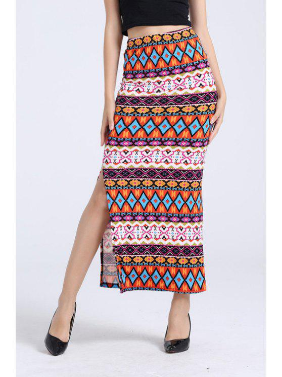 online Printed Pencil Long Slit Skirt - COLORMIX ONE SIZE(FIT SIZE XS TO M)