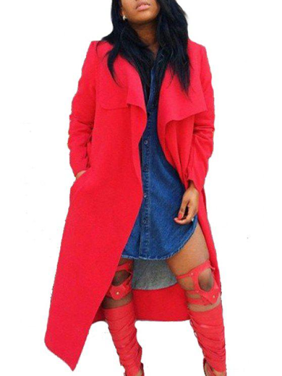 shops Turn-Down Collar Pocket Red Coat - RED M