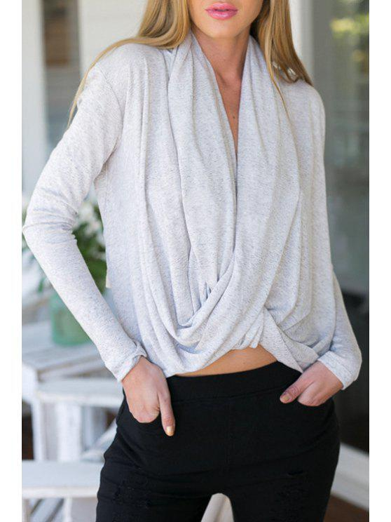 ladies V Neck Solid Color Asymmetrical T-Shirt - GRAY S