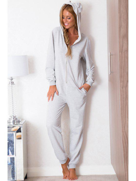 womens Hooded Solid Color Long Sleeve Jumpsuit - GRAY S