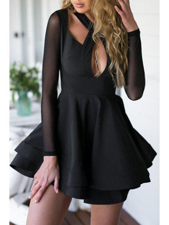 best Keyhole Neckline Solid Color Backless Dress - BLACK M