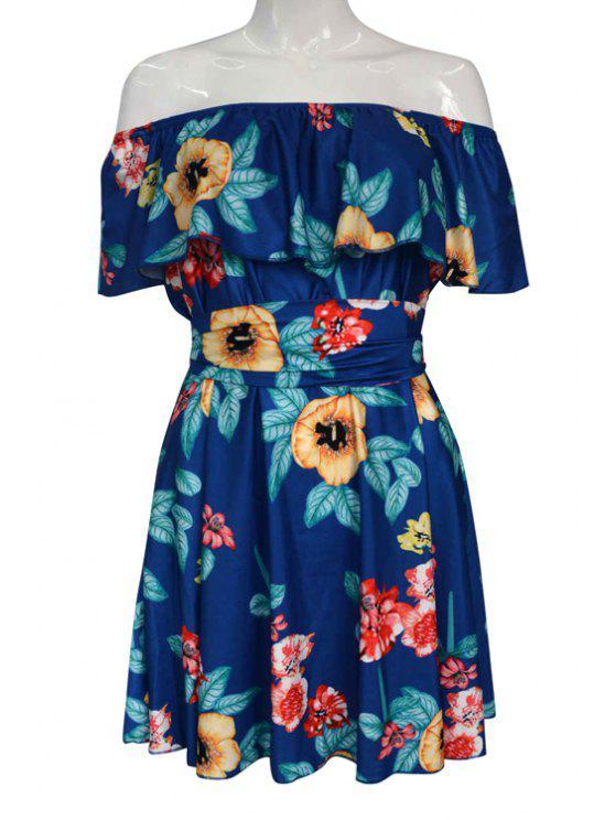 womens Off-The-Shoulder Floral Print Dress - BLUE S