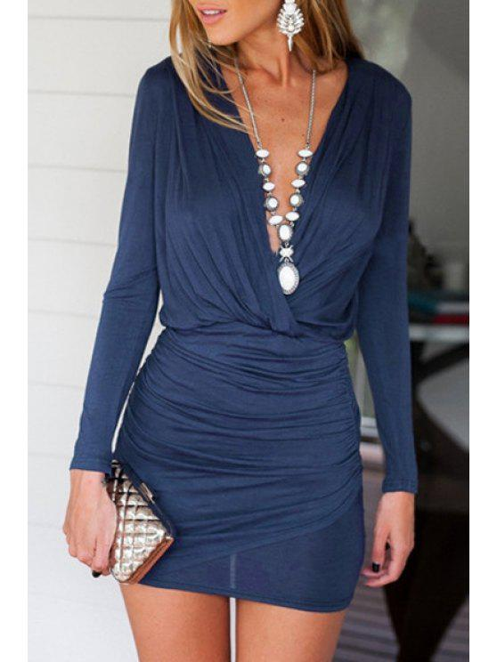 affordable Ruched Plunging Collar Bodycon Dress - BLUE M