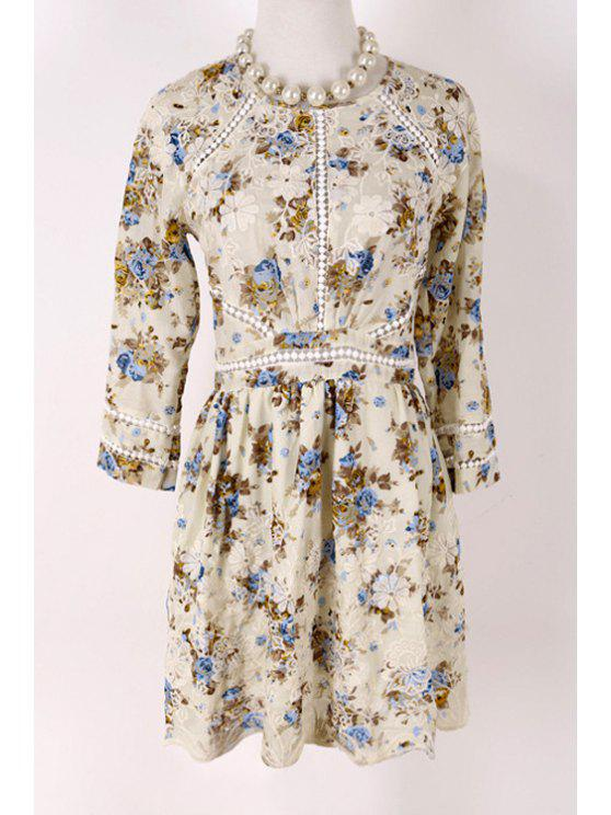 shop 3/4 Sleeve Spliced Embroidered Dress - OFF-WHITE S