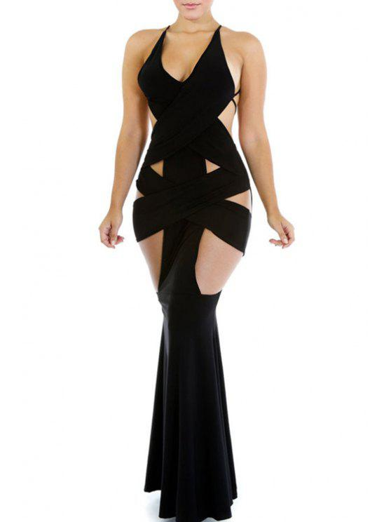 lady Backless Hollow-Out Black Spaghetti Strap Maxi Dress - BLACK ONE SIZE(FIT SIZE XS TO M)