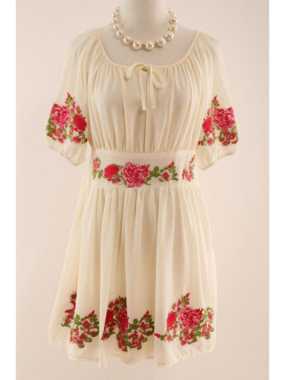 fancy Half Sleeve Flower Embroidered Dress - APRICOT L