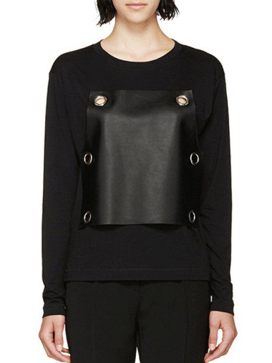 outfit PU Leather Splicing Long Sleeve T-Shirt - BLACK ONE SIZE(FIT SIZE XS TO M)