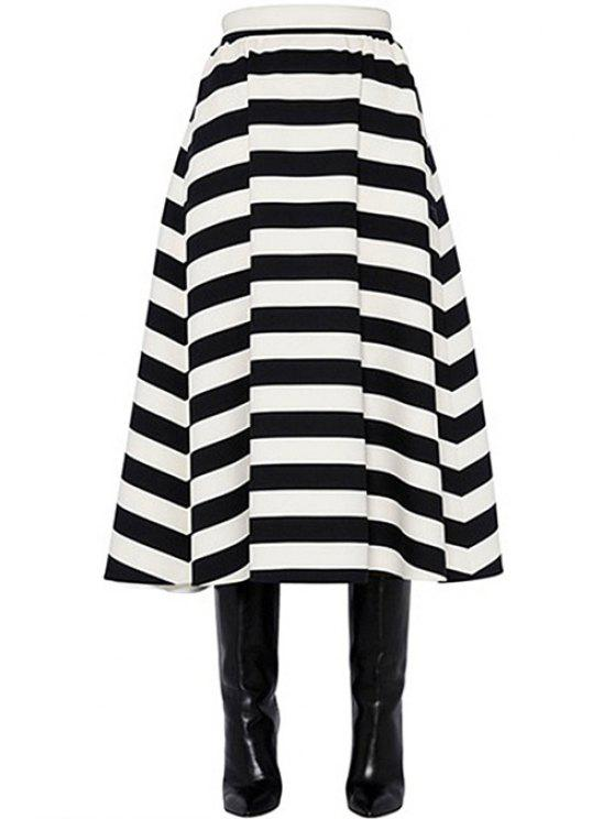 affordable Black White Stripe Elastic Waist Skirt - WHITE AND BLACK ONE SIZE(FIT SIZE XS TO M)