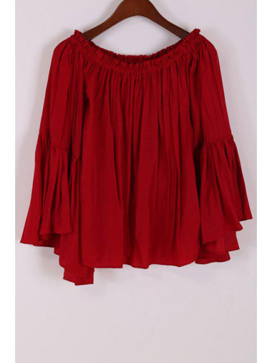 affordable Off-The-Shoulder Bell Sleeve Loose Blouse - CLARET ONE SIZE(FIT SIZE XS TO M)