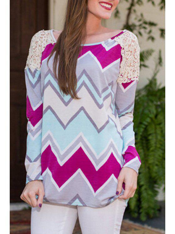 women's Zig Zag Print Long Sleeve T-Shirt - COLORMIX L