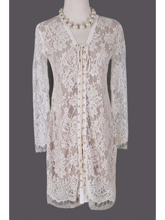 ladies Plunging Neck Crochet Flower Lace Dress - WHITE S