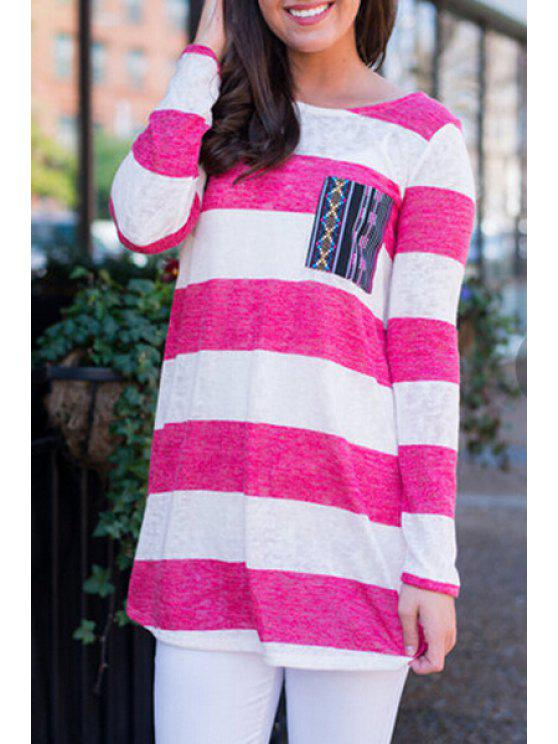lady Pink Striped Long Sleeve T-Shirt - ROSE S