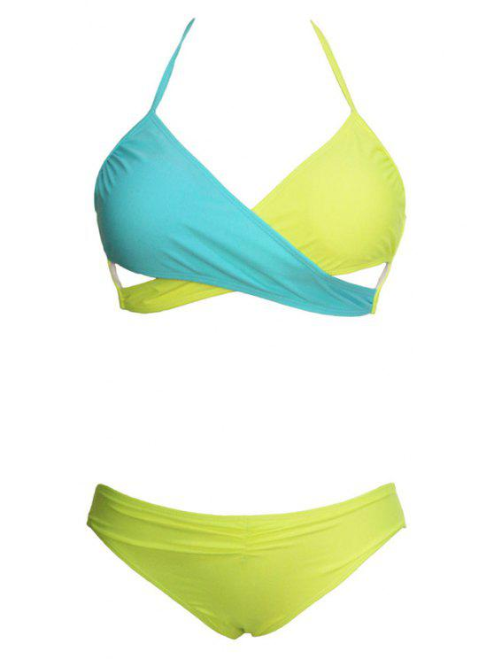 Ombre Sexy Halter Bikini Set - Amarelo S