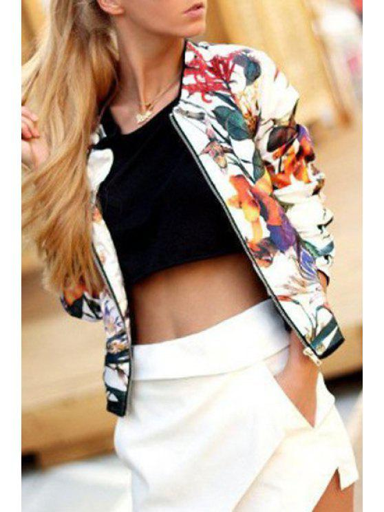 trendy Floral Round Neck Long Sleeve Coat - AS THE PICTURE S