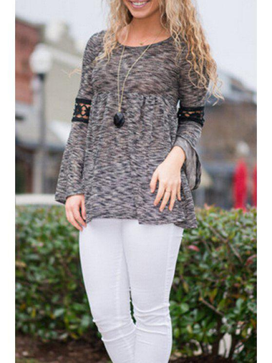hot Black Lace Spliced Long Sleeves T-Shirt - GRAY S