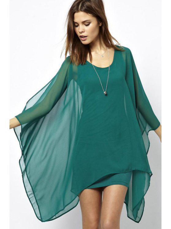 fashion Chiffon Spliced Scoop Neck Dress - BRIGHT GREEN S