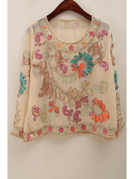women Sequined Beading Chiffon Blouse - APRICOT ONE SIZE(FIT SIZE XS TO M)