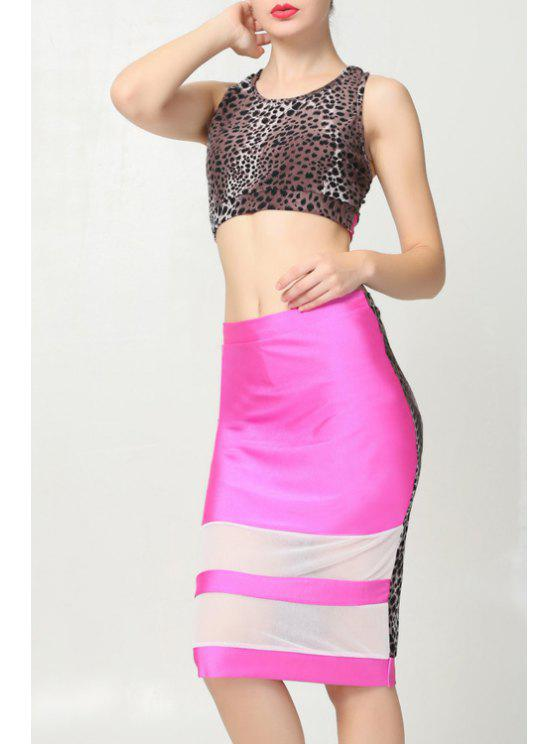 shop Sleeveless Crop Top and Leopard Spliced Skirt Suit - LEOPARD S