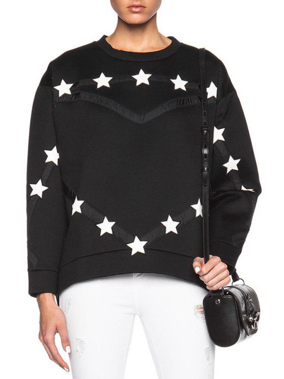 affordable White Star Pattern Long Sleeve Sweatshirt - BLACK ONE SIZE(FIT SIZE XS TO M)
