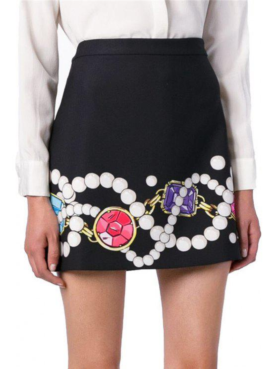 womens Pearl Gem Necklace Print Skirt - BLACK ONE SIZE(FIT SIZE XS TO M)