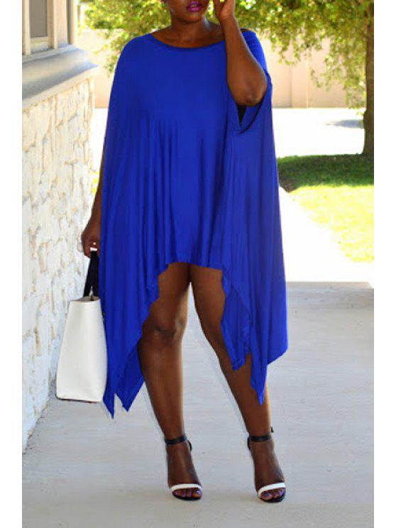 unique Batwing Sleeve Asymmetric Dress - BLUE S