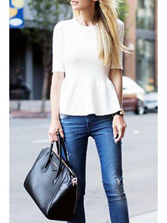 affordable White Ruffles Spliced Half Sleeve T-Shirt - WHITE S