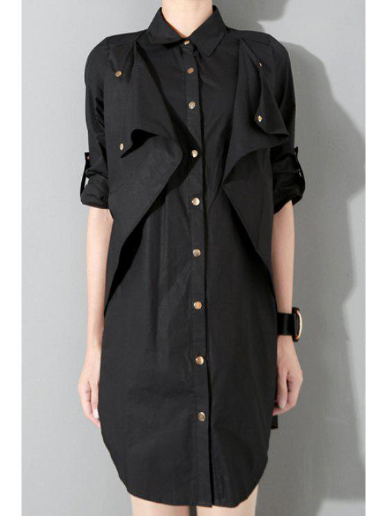 best Splicing Single-Breasted Long Sleeve Dress - BLACK ONE SIZE(FIT SIZE XS TO M)