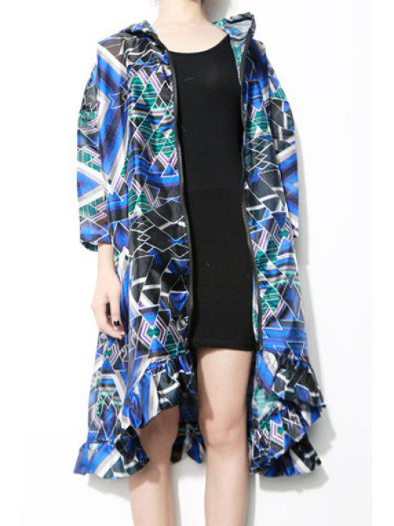 womens Hooded Color Block Argyle Long Sleeve Coat - COLORMIX ONE SIZE(FIT SIZE XS TO M)