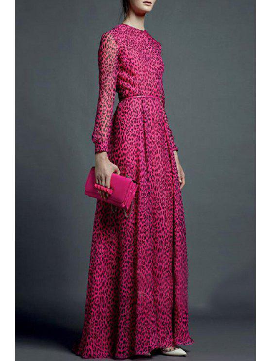 shop Leopard Print Long Sleeve Maxi Dress - ROSE S