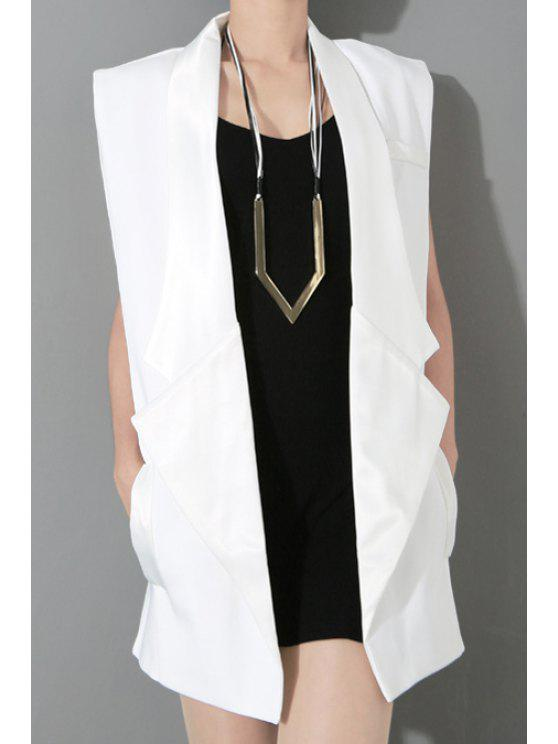 outfits Solid Color Lapel Sleeveless Waistcoat - WHITE ONE SIZE(FIT SIZE XS TO M)