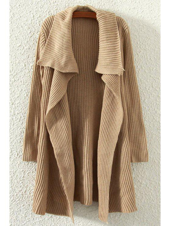 fancy Pure Color Turn Down Neck Long Sleeve Cardigan - BROWN ONE SIZE(FIT SIZE XS TO M)