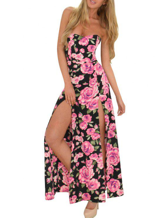 fancy Full Floral Print Strapless Maxi Dress - COLORMIX S
