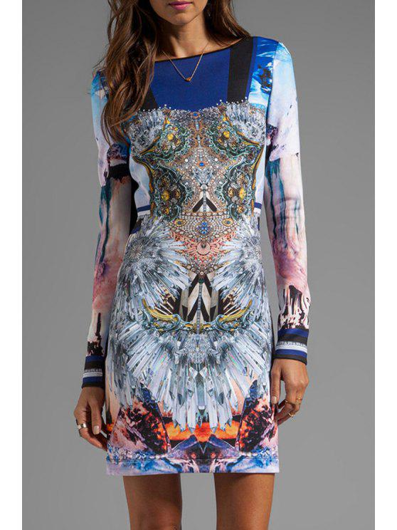 sale Abstract Print Round Neck Long Sleeve Dress - COLORMIX S