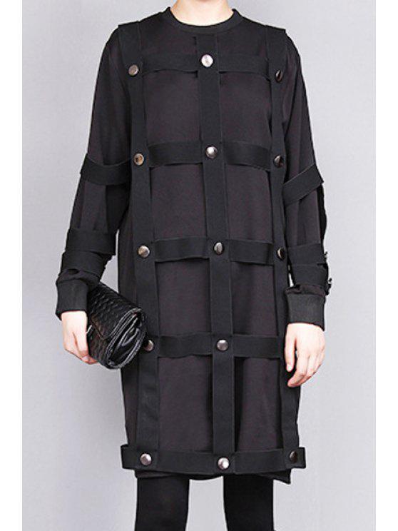 new Jewel Neck Rivet Embellished Long Sleeve Dress - BLACK ONE SIZE(FIT SIZE XS TO M)