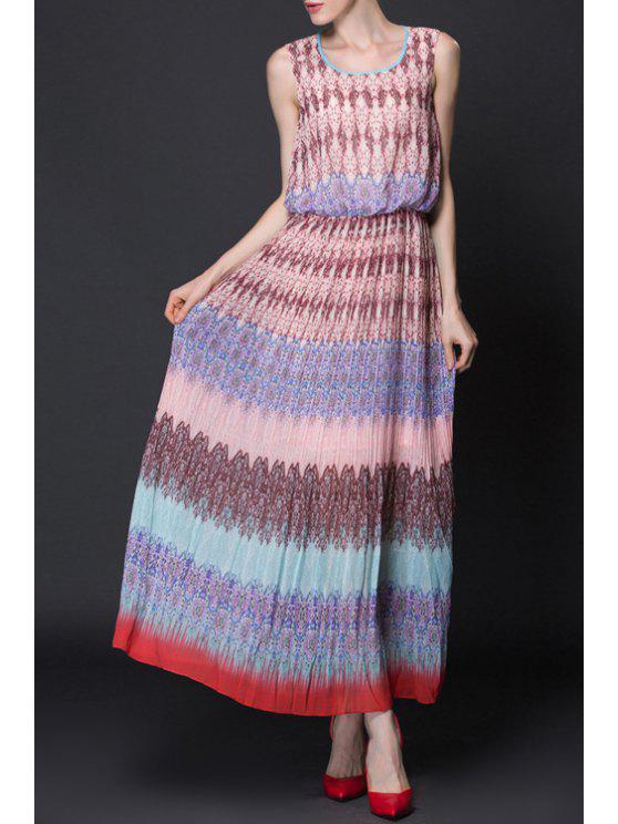 affordable Sleeveless Printed Maxi Chiffon Dress - PINK XS