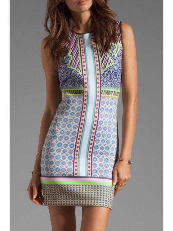 women's Geometric Print Spliced Sleeveless Dress - COLORMIX S
