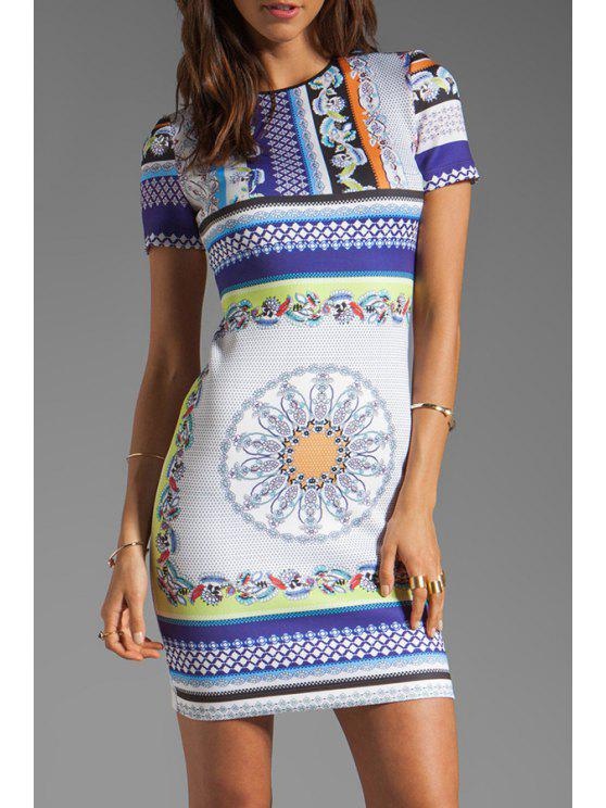 outfits Vintage Print Round Collar Sleeveless Dress - COLORMIX S