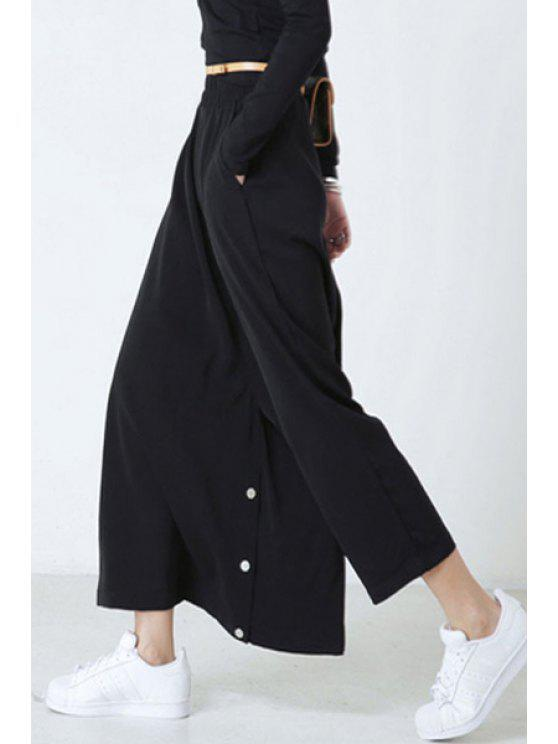 lady Solid Color Loose Fitting Pants - BLACK ONE SIZE(FIT SIZE XS TO M)
