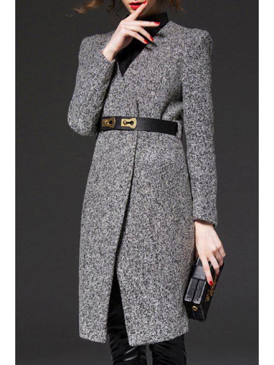 fancy V-Neck Gray Trench Coat - GRAY M