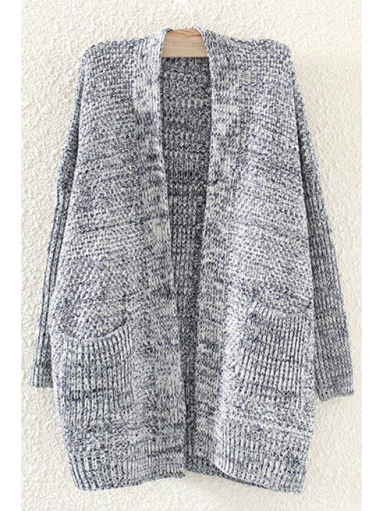 buy Pockets Collarless Long Sleeve Cardigan - CADETBLUE ONE SIZE(FIT SIZE XS TO M)