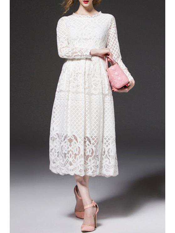 outfit Openwork Lace Hook Midi Dress - WHITE S