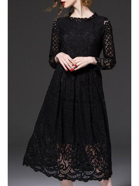 unique Openwork Lace Hook Midi Dress - BLACK 2XL
