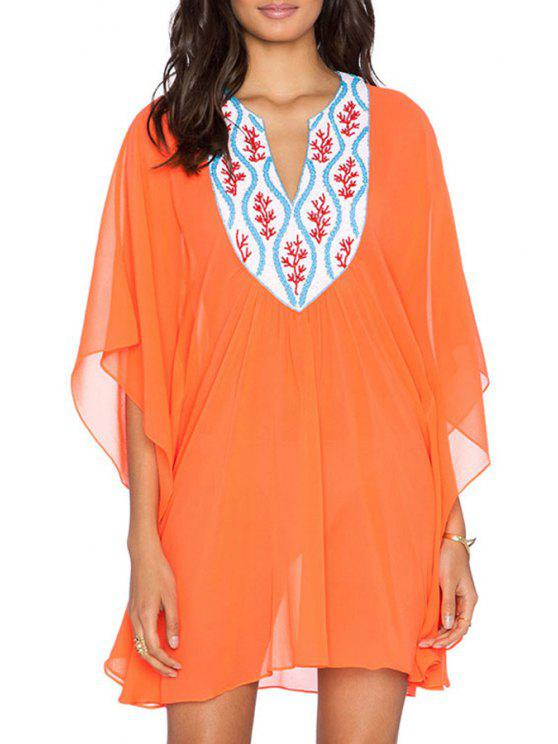 womens V Neck Color Block Embroidery Half Sleeve Dress - ORANGE ONE SIZE(FIT SIZE XS TO M)