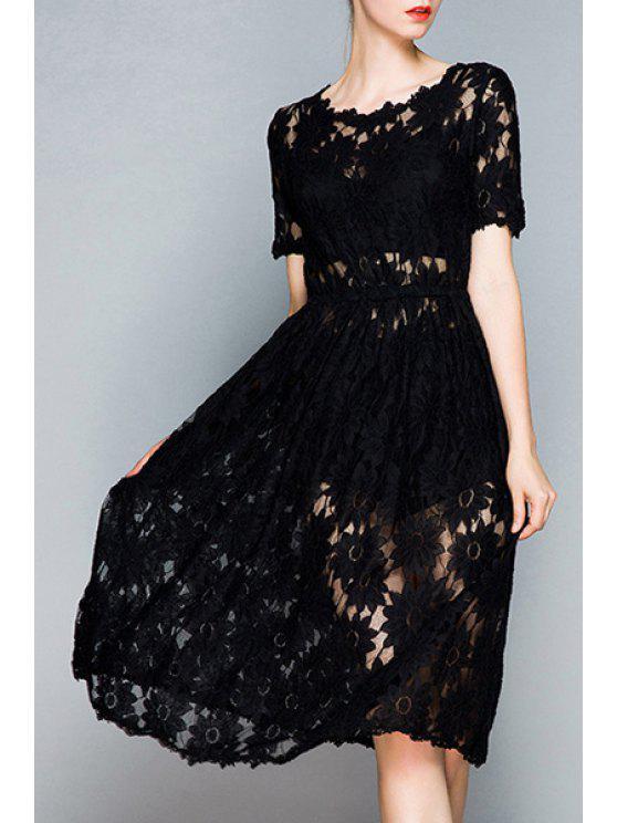 sale Openwork Lace Hook Black Dress - BLACK S