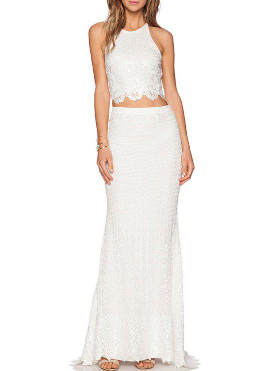 ladies Cross Backless Crop Top + Long Skirt - WHITE M