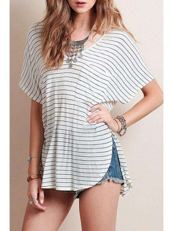 lady Short Sleeve Striped Loose T-Shirt - WHITE AND BLACK S