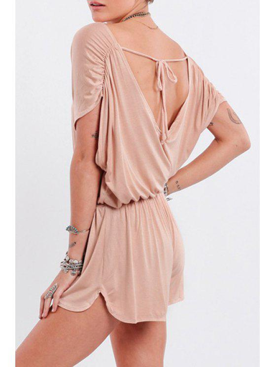 shops Short Sleeve Low Back Ruched Romper - YELLOWISH PINK S
