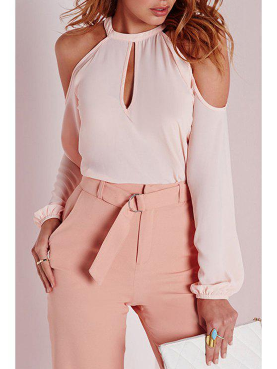 sale Long Sleeve Cut Out Pink Blouse - PINK L